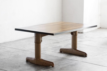 SOLD - Mid Century Coffee Table on Industrial Base