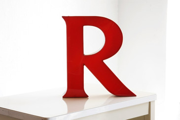"SOLD - Jumbo Vintage Channel Letter ""R"" in Red"