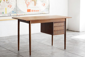 Danish Modern Wood Desk with Floating Drawers