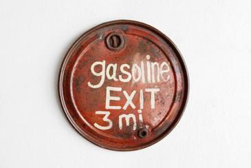 SOLD - Vintage Hand Painted Gasoline Sign, 1950s