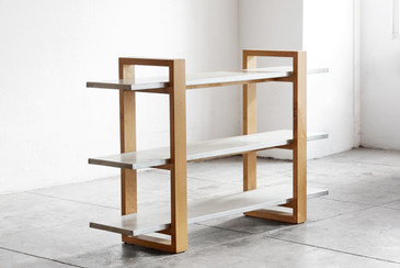 Custom Modernist Steel and Alder Three-Tier Bookshelf