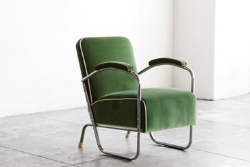 SOLD - 1930s Art Deco Club Chair in Kelly Green