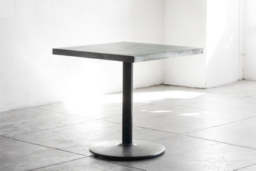 SOLD - Bistro Table with Zinc Top and Reclaimed Steel Base - CUSTOM ORDER