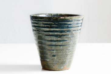 SOLD - Vintage Ceramic Coil Planter with Earthtone Glaze