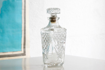 SOLD - 1960s Retro Cut Glass Decanter with Stopper