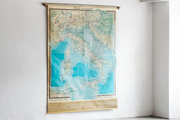 SOLD - Mid Century Map of Italy, Large Pull Down