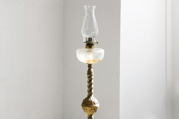 SOLD - Antique Oil Burning Floor Lamp from 1893
