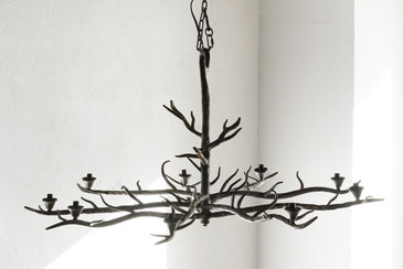 SOLD - Handmade Tree Branch Chandelier, Steel