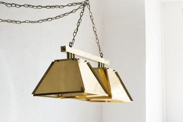 SOLD  - '70s Modern Brass Billiards Light, Double Pendant