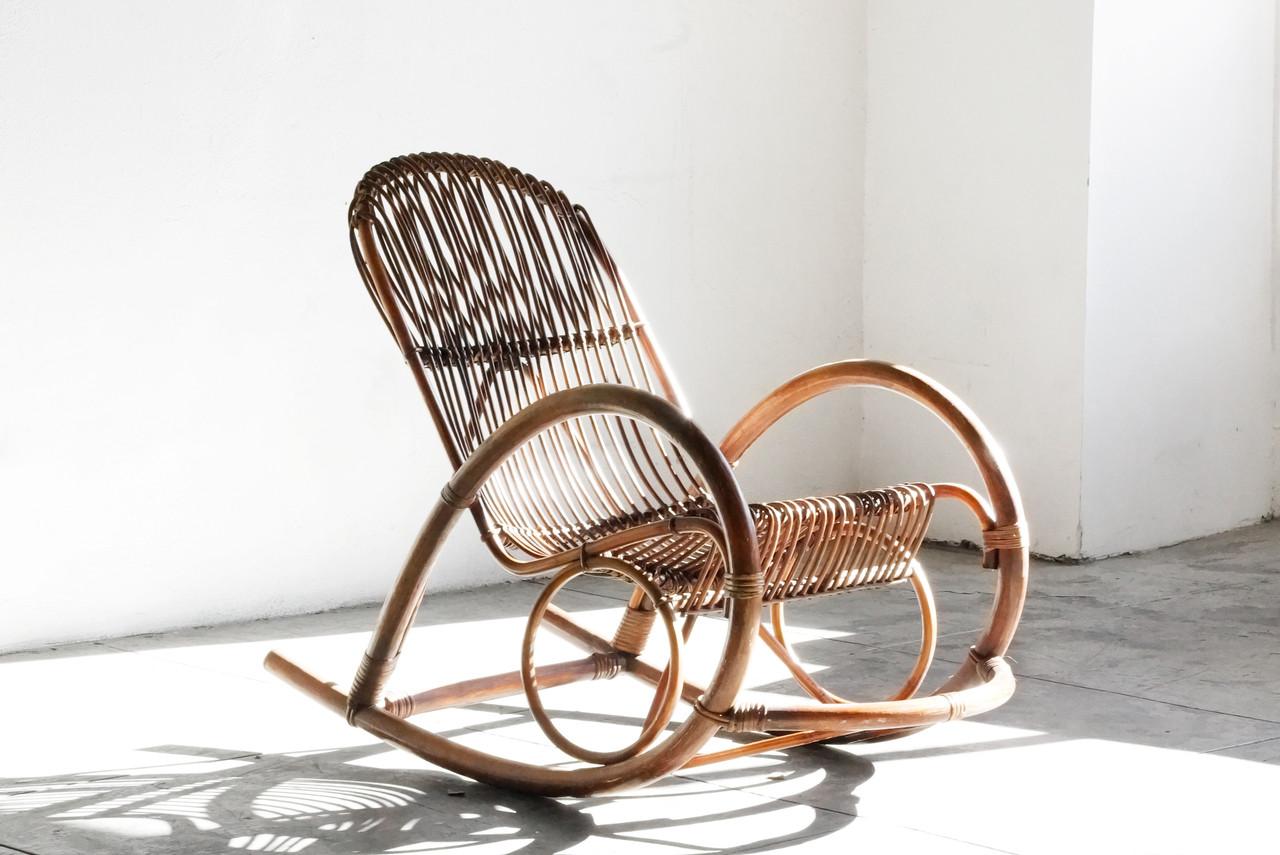 ... Modern Rattan Rocking Chair By Franco Albini. Image 1