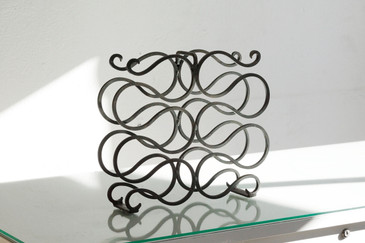 SOLD - Vintage Wrought Iron Wine Rack, Spanish Revival Style