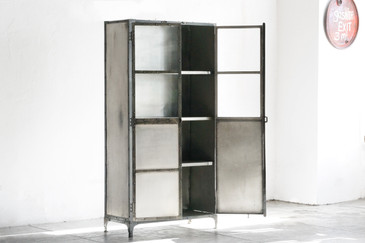 SOLD - Vintage Industrial Steel Display Cabinet