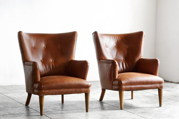SOLD - Pair of 1940s Vintage Wingbacks, Refinished