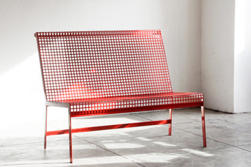 Custom Modernist Steel Bench with Back