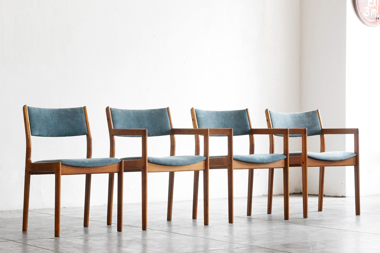 Sold Set Of 4 Mid Century Modern Teak Chairs Reupholstered