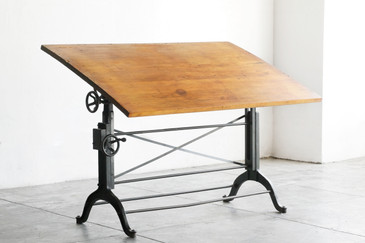 SOLD - Antique Cast Iron Drafting Table, Frederick Post Co.