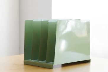SOLD - Retro Desktop File Holder, Refinished in Sage Green