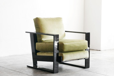 SOLD - Large Lacquer Armchair in the Style of Jean Royere