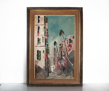 SOLD - Bernstorff Oil Painting, Tunis, 1956