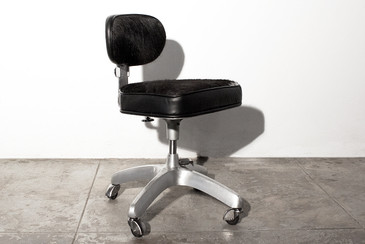 SOLD - Aluminum Task Chair with Black Cowhide, c. 1960