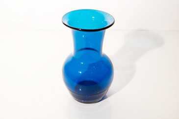 SOLD - Vintage Transparent Blue Glass Vase