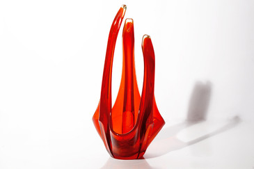 SOLD - Exquisite Orange Viking Glass Candle Holder