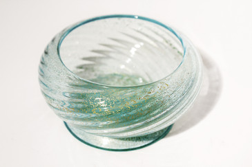 SOLD - Murano Relief Dish With Gold Leaf Flakes by Venini, 1950s