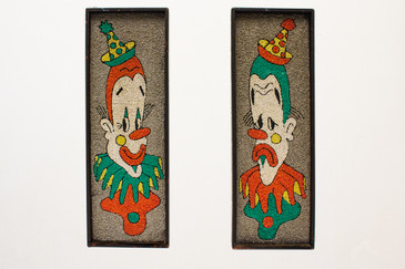 SOLD - Fantastic Pebble Art Clown Image Wall Hangings, circa 1950