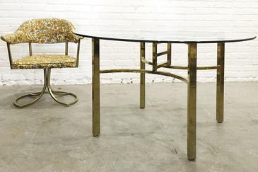 SOLD - Brass Table and Chair Set by Virtue Brothers of California, circa 1970