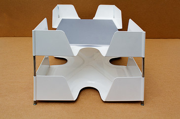 SOLD-1920s Double Tier Letter Tray, Gloss White