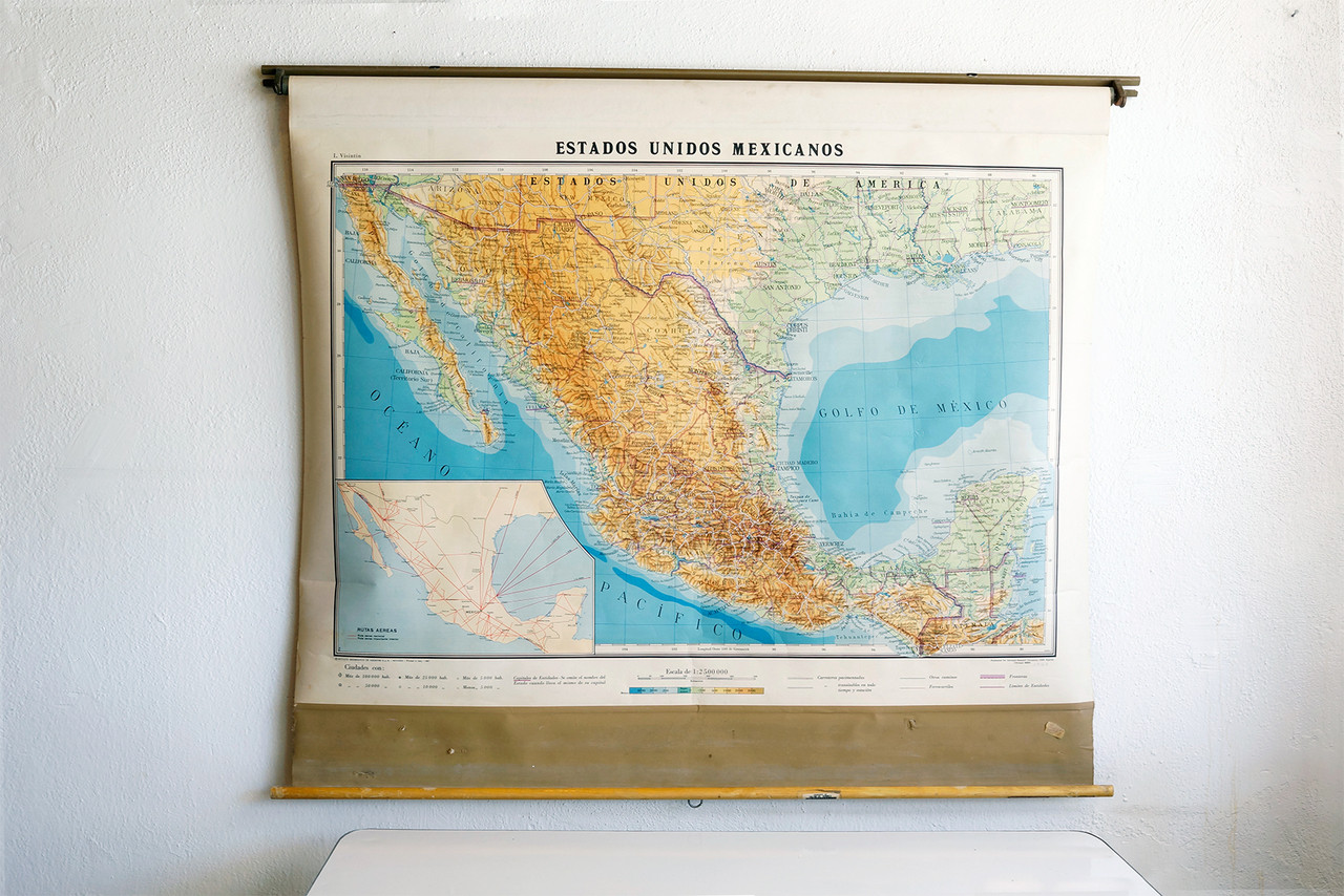Vintage Pull Down Map SOLD   Vintage Pull Down Map of United States of Mexico   Rehab  Vintage Pull Down Map