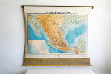 SOLD - Vintage Pull Down Map of United States of Mexico