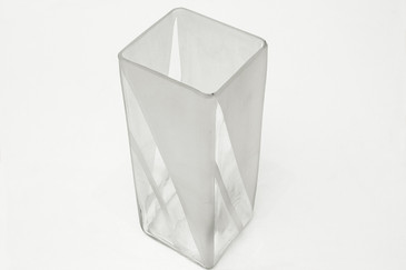 SOLD - Square Etched Vase, Signed, Free Shipping