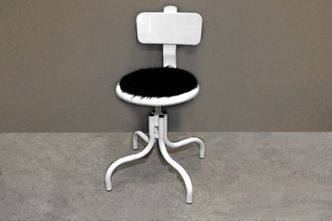 SOLD - Custom Industrial Drafting Stool, Cowhide Seat