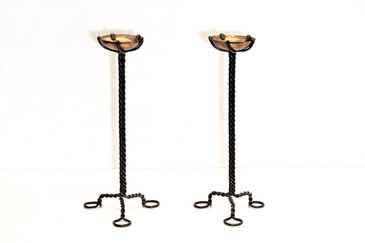SOLD - Twisted Steel and Copper Candlesticks