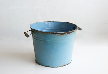 SOLD - Vintage Metal Bucket in Baby Blue, Dust Bowl Era
