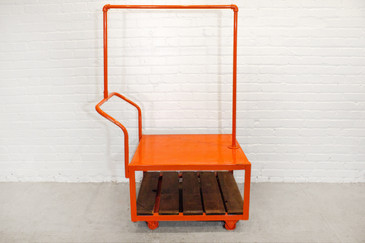 SOLD - Kitson Rolling Display Cart, Orange