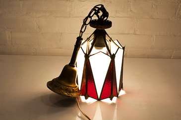 SOLD-Art Deco Stained Glass Pendant Lamp, circa 1920