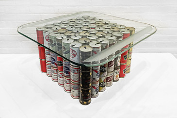 1970s Folk Art Beer Can Table Base