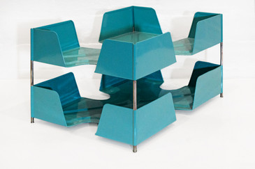 SOLD - 1920s Double Tier Letter Tray, Turquoise