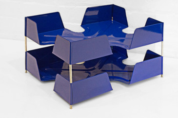 SOLD - 1920s Two-Tier Letter Tray, Royal Blue
