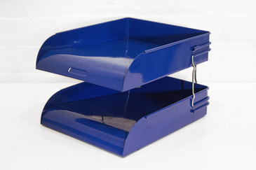 SOLD - Art Deco Two-Tier Letter Tray, Royal Blue