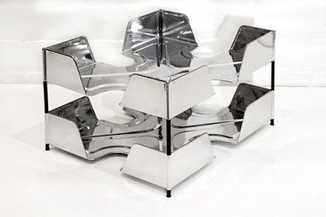 SOLD - 1920s Double Tier Letter Tray, Chrome