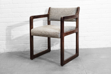 SOLD - Geometric Oak Armchair, circa 1980s