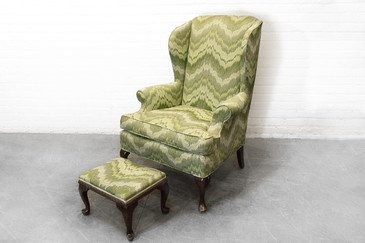 SOLD - Queen Anne Style Wing Back Chair