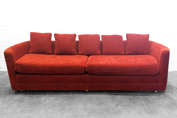 SOLD - Custom Mid-Century Sofa in Rust colored Chenille
