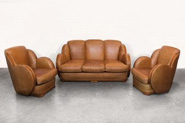 SOLD - Art Deco Sofa and Armchair Set, circa 1925