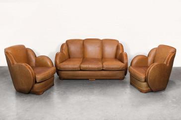 SOLD - Art Deco Sofa and Armchair Set, circa 1925