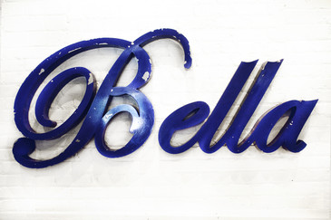 "SOLD - Vintage Aluminum ""Bella"" Sign in Script C. 1950"