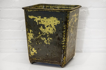 SOLD - Vintage Steel Waste Basket, 1940s